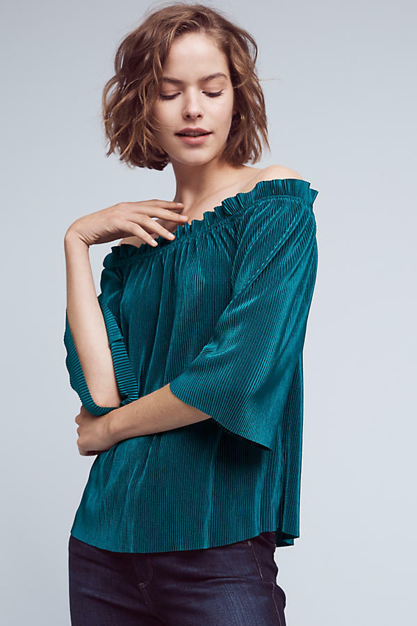 New Anthropologie Vacances Off-The-Shoulder Top Size LP  PL by Deletta
