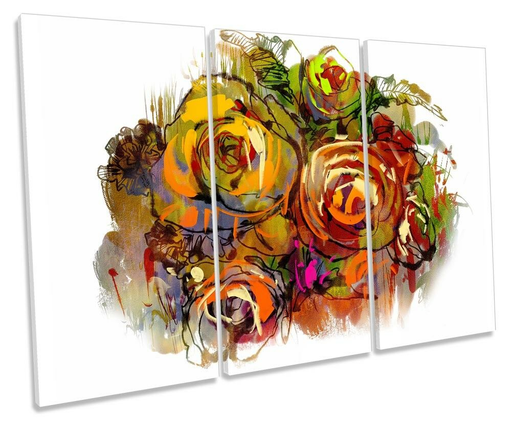 Rosa Rosa Rosa Flower Multi Colourot TREBLE CANVAS WALL ARTWORK Print Art 00578a