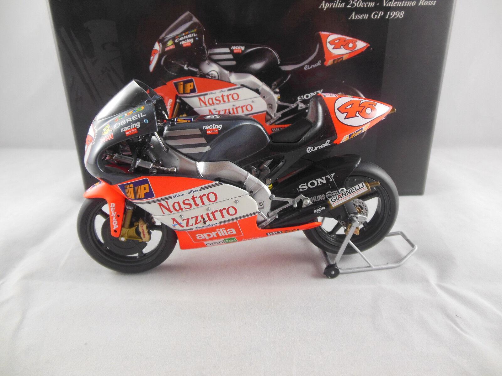 Minichamps 122 098046 APRILIA 250ccm TEAM NASTRO AZZURRO ASSEN GP 1998 V ROSSI
