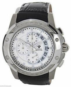 Aqua-Master-White-Dial-Stainless-Steel-Case-Diamond-Men-039-s-Black-Band-Watch-W-347