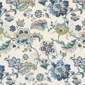 Ophelia blue 100 /% silk teal floral design curtain fabric