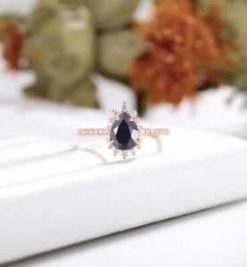 2ct Pear Cut Black Diamond Vintage Halo Engagement Ring 14k Rose Gold Finish Ebay