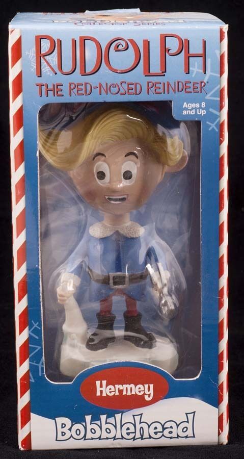 Rudolph röd Nossed Reindeer Bobblehead Hermey Dentist 2002 leksakgite NY