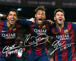 Lionel Messi Neymar Jr Luis Suarez Barcelona Trio Signed Photo Autograph Reprint