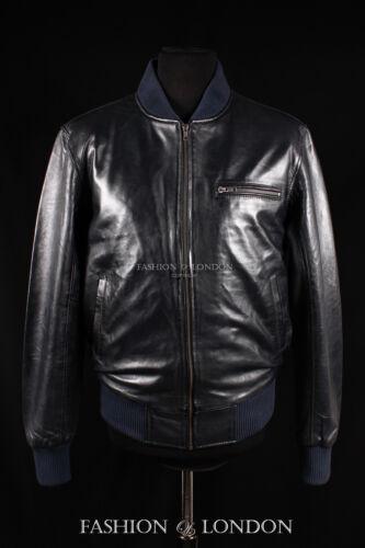 Men/'s SEVENTIES BOMBER Navy Blue Lambskin Classic 70/'s Short Leather Jacket 275