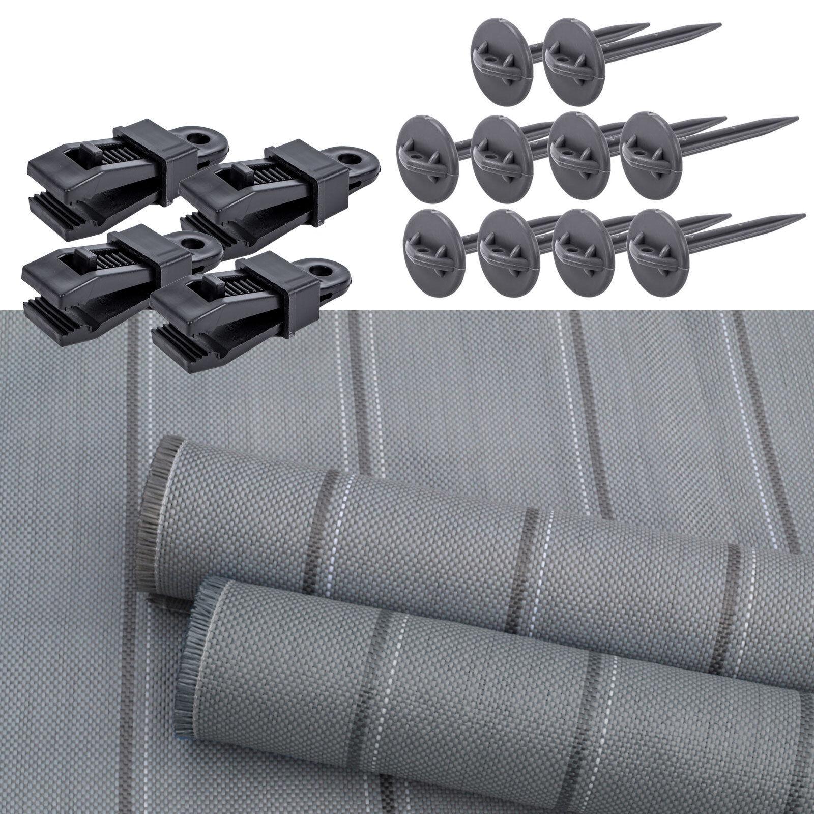 Arisol Vorzeltteppich Set 250x400 grey + Teppichclips + Heringe für Wohnwagen