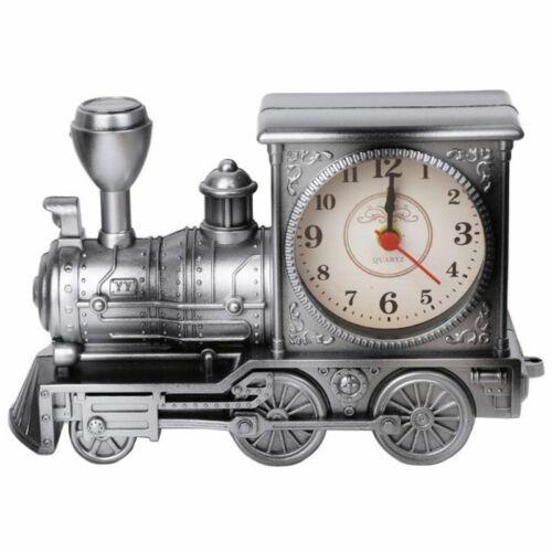 Locomotive Train Engine Quartz Alarm Clock Analogue Room Creative Decor Gifts