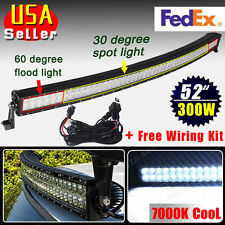 "7000k Cold Curved 300W 52"" Spot Flood Combo LED Work Light Bar Offroad SUV Boat"
