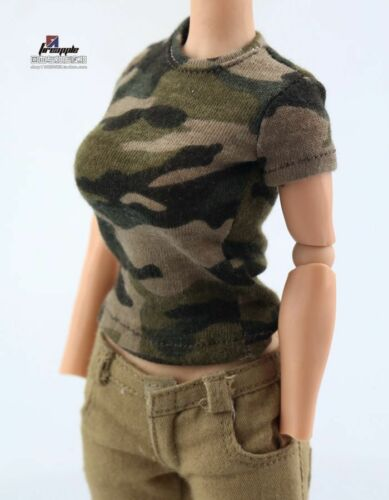 "1//6 Scale Female Camouflage T-Shirt Top Clothes Model F 12/"" Figure Body Style A"