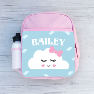 Personalised Glitzy Happy Cloud Bow Name Toddler Kids Childs Back Pack Girls Bag