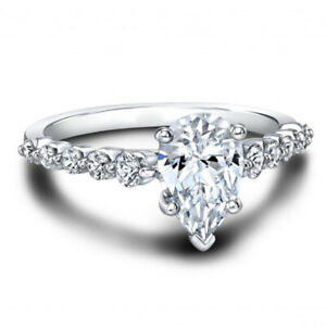 1.30 Ct Pear Cut Moissanite Engagement Ring 14K Bridal Solid White Gold Size 6 7
