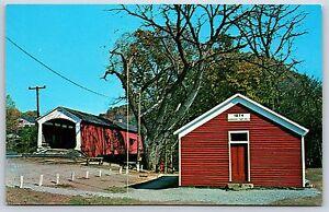 Mecca-Covered-Bridge-Indiana-Parke-County-Big-Raccoon-Creek-Chrome-Postcard-New