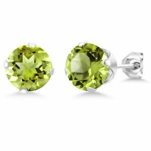 1-25Ct-Green-Peridot-14K-White-Gold-Over-Women-039-s-August-Birthstone-Stud-Earrings
