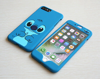 Blue Stitch Front Back case cover Defender for Apple iPhone 8 / Plus +Glass Film