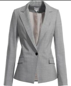 Ladies Grey 12 Jacket Blazer Wool Nwot Blend Reiss Size Rrp £235 dpnw5q1dx