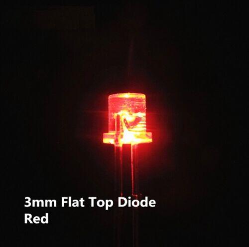 50PCS F3 3MM FLAT TOP LED RED SUPER BRIGHT Wide Angle Leds Lamps