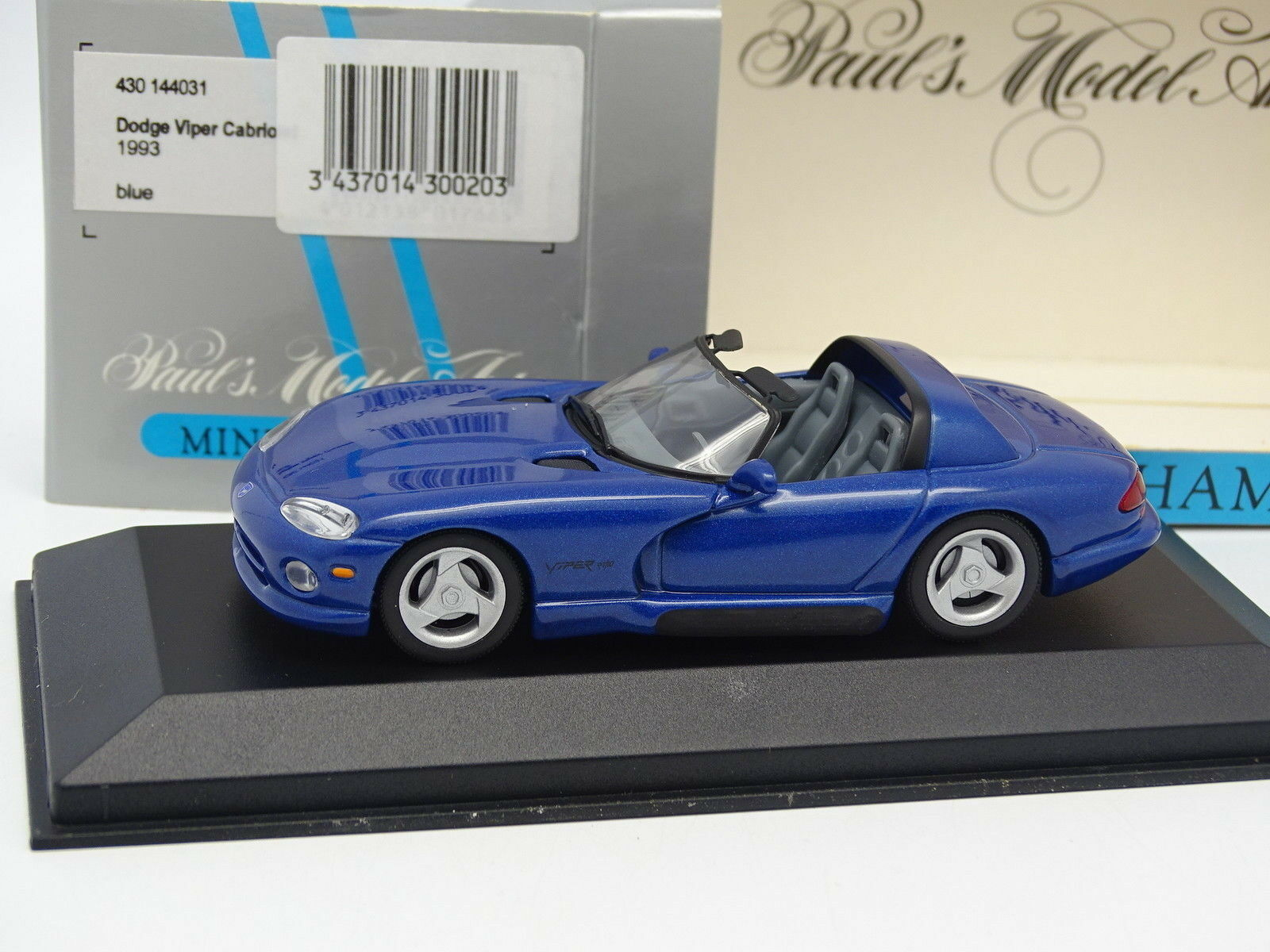 Minichamps 1 43 - Dodge Viper Cabriolet Bleue 1993