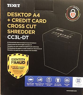 Texet Electric Desktop Paper Shredder Cross Cut Shredding Cards Documents 3L Bin