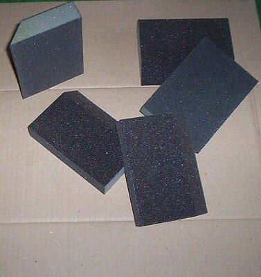 10 x ANGLED  WET AND DRY  FOAM SANDING BLOCKS PADS SANDPAPER MEDIUM COURSE
