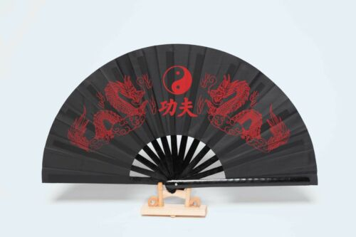 Kung Fu Fächer 64x34cm aus HOLZ mit Drachen YinYang