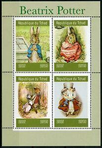 Chad-2019-Gomma-integra-non-linguellato-Beatrix-Potter-Peter-Rabbit-4v-M-S-VOLPI-conigli-animali