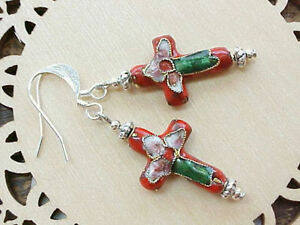 Cross-Earrings-Cloisonne-Christian-Catholic-Confirmation-Girl-Gift-Easter-Women