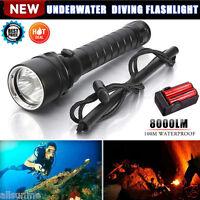 8000LM 3X XM-L2 T6 LED 100M Underwater Diving Scuba Flashlight 18650 Zoom Torch