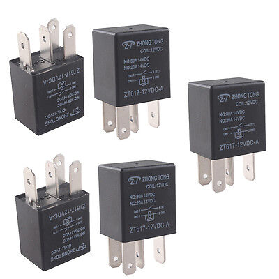 5 X Universal Black 30A 12V DC SPST Relay Kit Pump Light Horn 4P Car Truck Sales