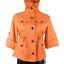 NWT-Anne-Klein-Orange-3-4-Sleeve-Button-Up-High-Neck-Draw-String-Jacket-Size-PS miniatuur 3