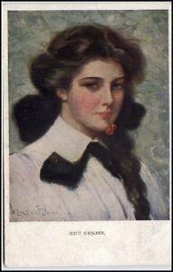 Kuenstlerkarte-1910-20-034-Reife-Kirschen-034-Frau-mit-Kirsche-M-Munk-Wien-Nr-832