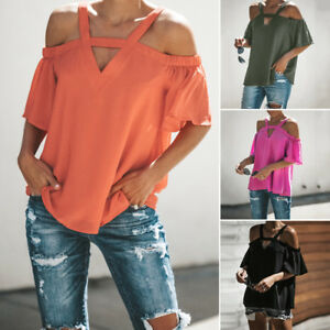 ea111309370 Details about Womens Cold Off Shoulder Tops T Shirt V Neck Short Sleeve  Summer Cotton Blouse