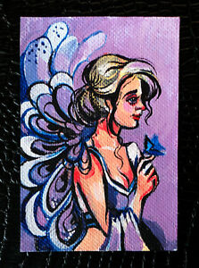 Original-art-by-Bastet-034-Girl-with-Flower-034-OOAK-hand-painted-ACEO