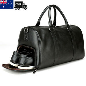 Mens-Black-Gym-Duffel-Shoulder-Bag-Travel-Overnight-Luggage-Large-Soft-Handbag
