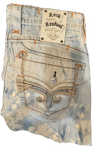 mens rock revival jeans 33