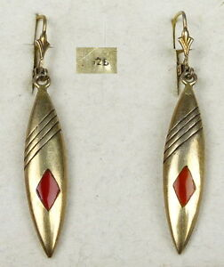 Brisur 925er Silber vergoldet Ohrringe Creolen aus Schaumkorallen 18mm Rot TOP
