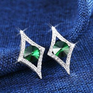 2341eb25df855 Details about 18K White Gold Filled Made With Swarovski Crystal Diamond  Shaped Stud Earrings