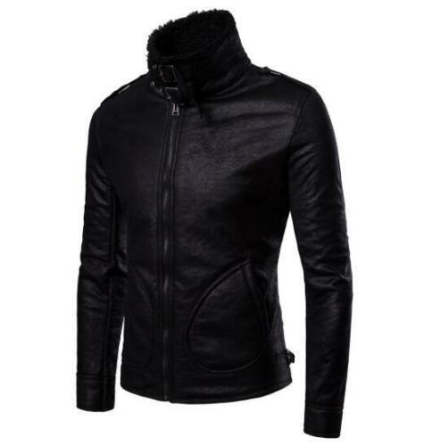 Mens Slim Leather Fur Warm Jacket Biker Mock Neck Motorcycle Coat Outwears Tops