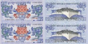 Bhutan-1-Ngultrum-2006-p27a-x-2-Pieces-UNC