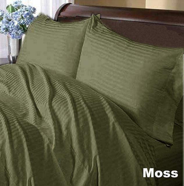 1000 Thread Count Egyptian Cotton British Bedding Items All Sizes Moss Striped