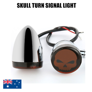 Motorcycle-chrome-Bullet-Skull-Turn-Signal-Indicator-Light-Harley-Sportster-dyna
