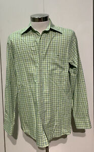 Lacoste-Men-s-Long-Sleeve-Button-Up-Dress-Shirt-Size-40-Green-Made-In-France
