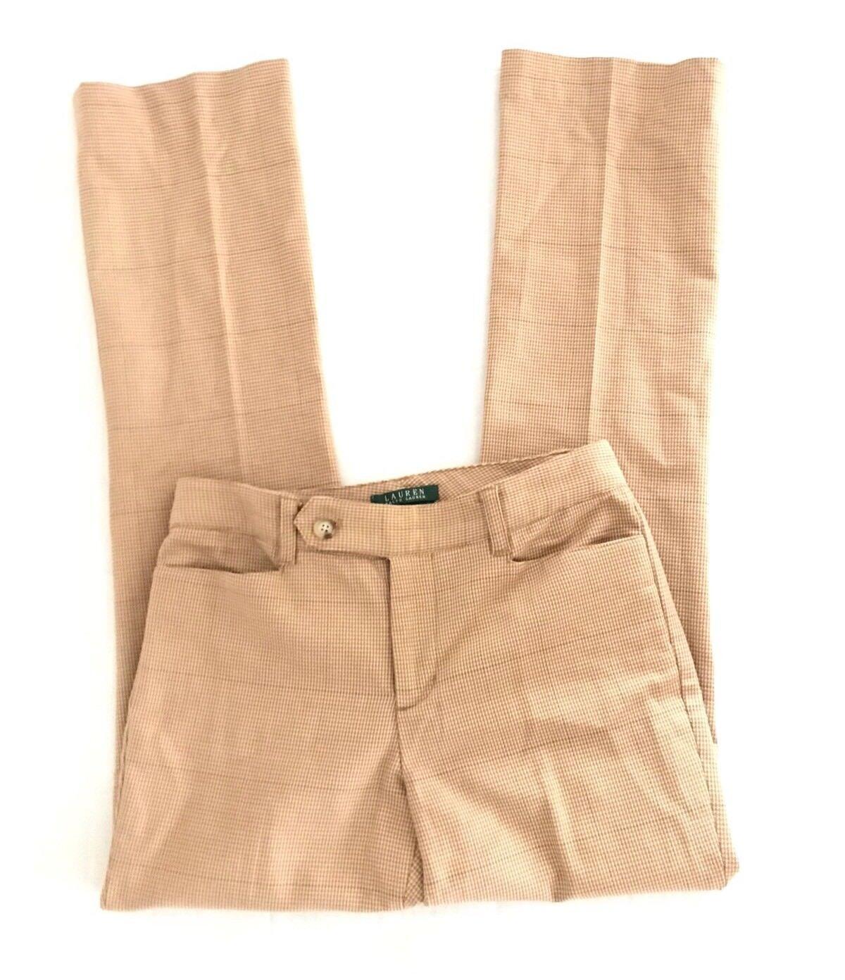 Lauren Ralph Lauren Womens Adelle Brown Pants Size 2 x 32 Houndstooth Stretch