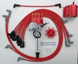 CHEVY SMALL BLOCK RED Small Cap HEI Distributor + Coil +PLUG WIRES under  exhaust | eBayeBay