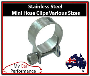 Performance-Mini-Fuel-Line-Hose-Clamps-Clips-Stainless-Steel-Two-set