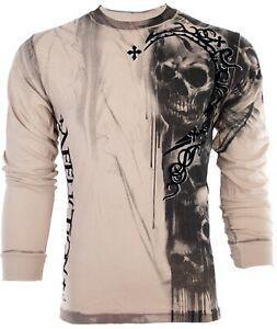 AFFLICTION-Men-LONG-SLEEVE-T-Shirt-WALKING-DEAD-Skulls-SAND-Tattoo-Biker-68-NWT