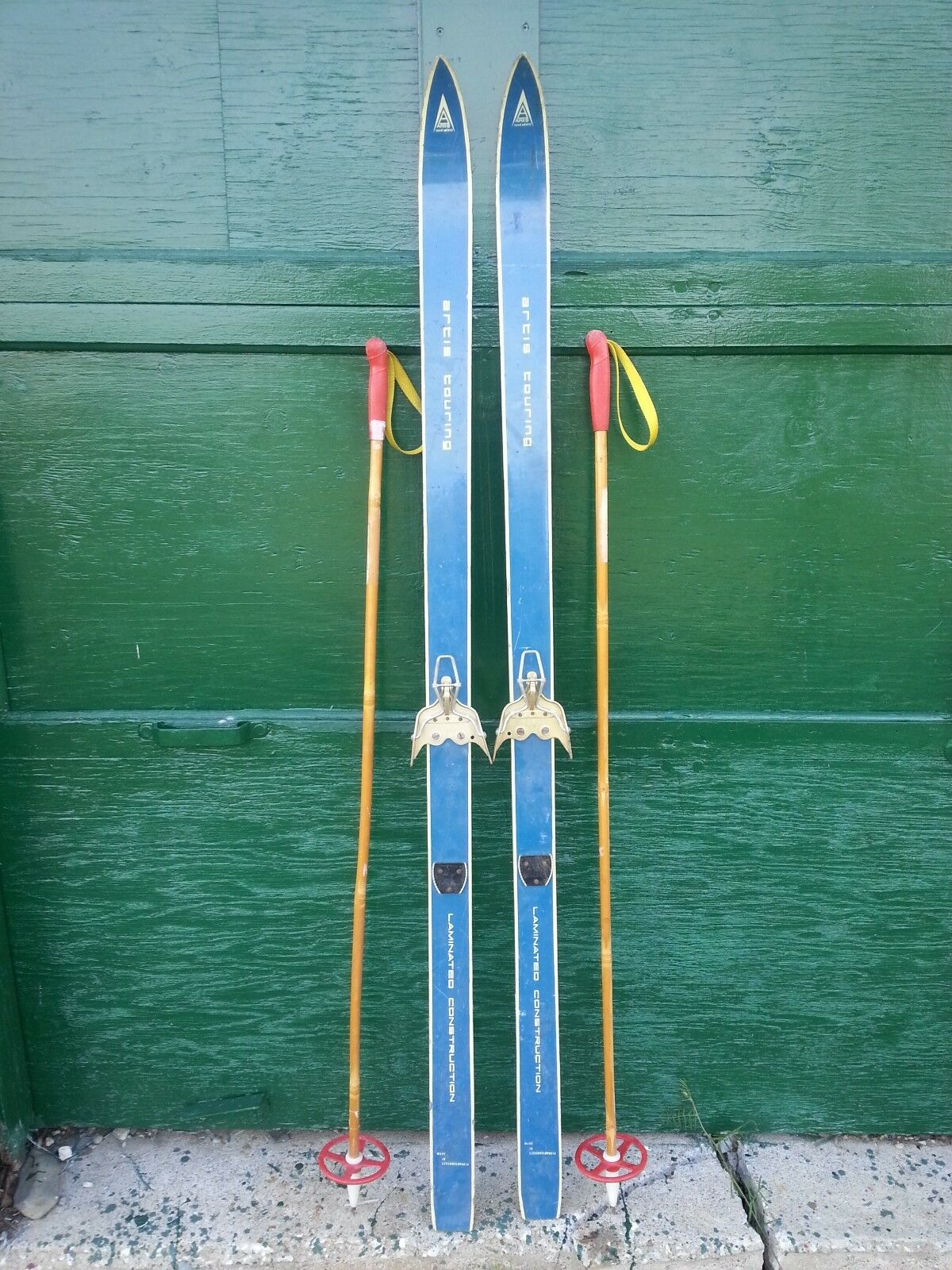 VINTAGE Wooden 59  Skis blueE Finish Signed ARTIS  TOURING + Bamboo Poles  latest styles