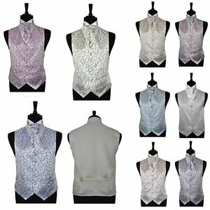 Boy's & Men's Silvery Scroll Wedding Groom Ascot Page Boy Waistcoats