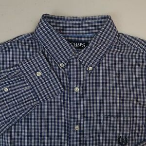 Chaps-Button-Up-Shirt-Mens-L-Blue-White-Long-Sleeve-Flannel-Cotton-Check-Casuals