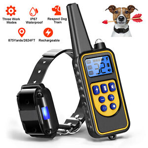 Waterproof Dog Shock Collar Rechargeable Remote Control 875 Yards Pet Training