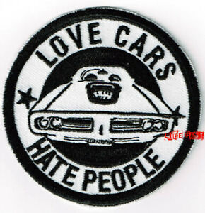 VINTAGE-MUSCLE-CAR-HOT-ROD-CAR-EMBROIDERED-IRON-ON-PATCH-LOVE-CARS-HATE-PEOPLE